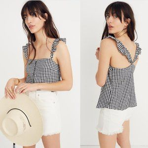 Madewell Ruffle-Strap Cami Top in Gingham Check